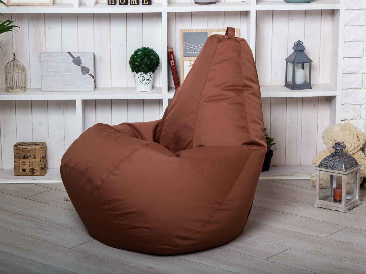 Кресло мешок груша пуфик коричневого цвета  XL (120х75)