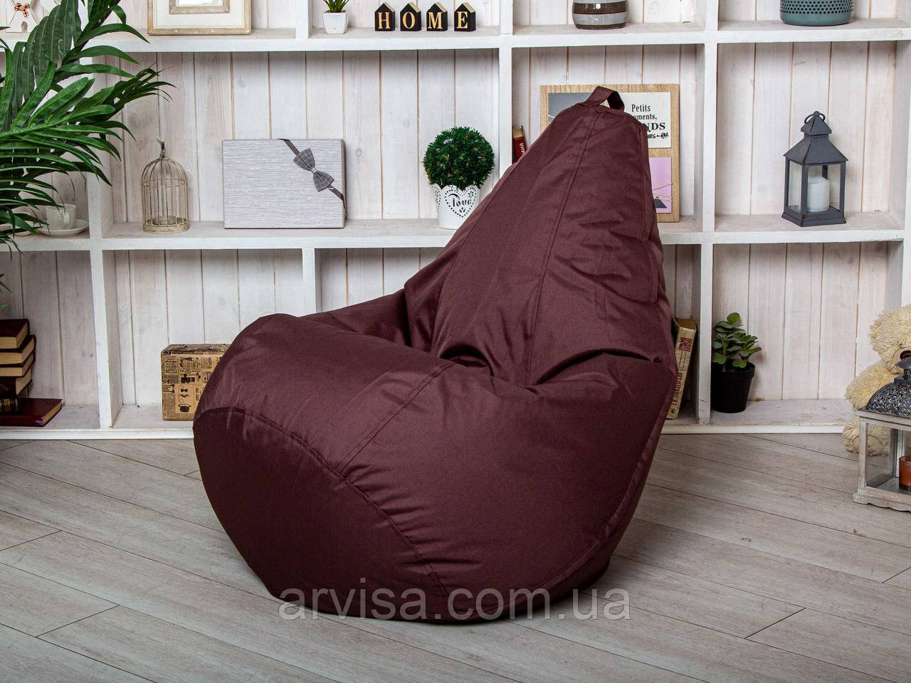 Темно-Бордовое Бескаркасное Кресло мешок груша пуфик XL