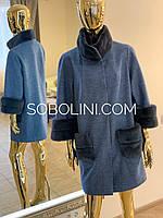Пальто с меховой отделкой из норки, размеры в наличии