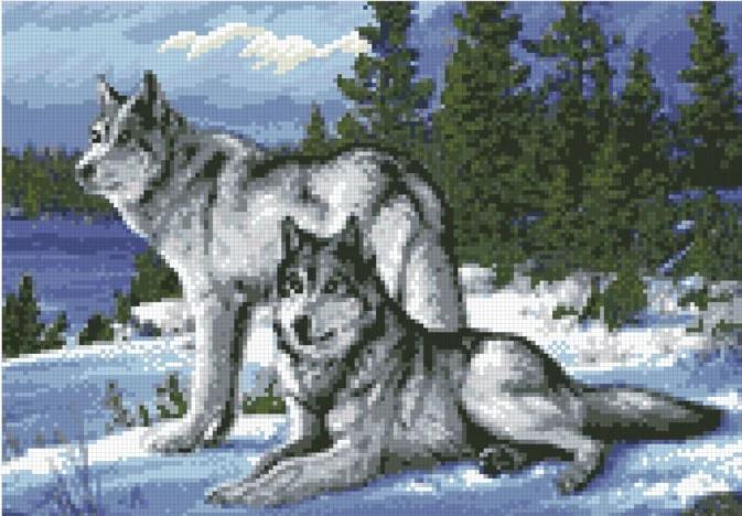 """Набір алмазної мозаїки """"Вовки"""" (30 х 43)"""