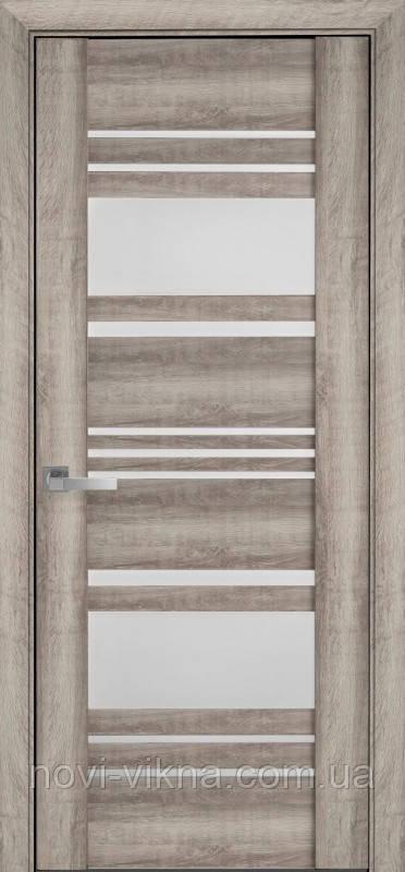 Дверь межкомнатная Ницца Бук Баварский 800 мм со стеклом сатин (матовое), ПВХ Viva.