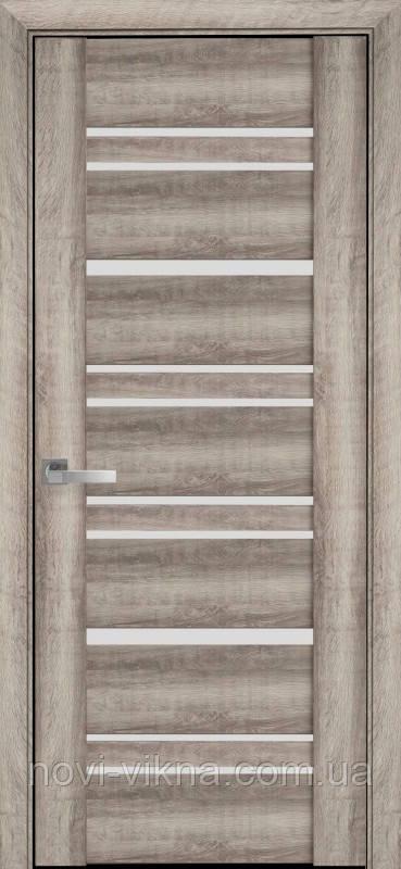 Дверь межкомнатная Валенсия Бук Баварский 600 мм со стеклом сатин (матовое), ПВХ Viva.