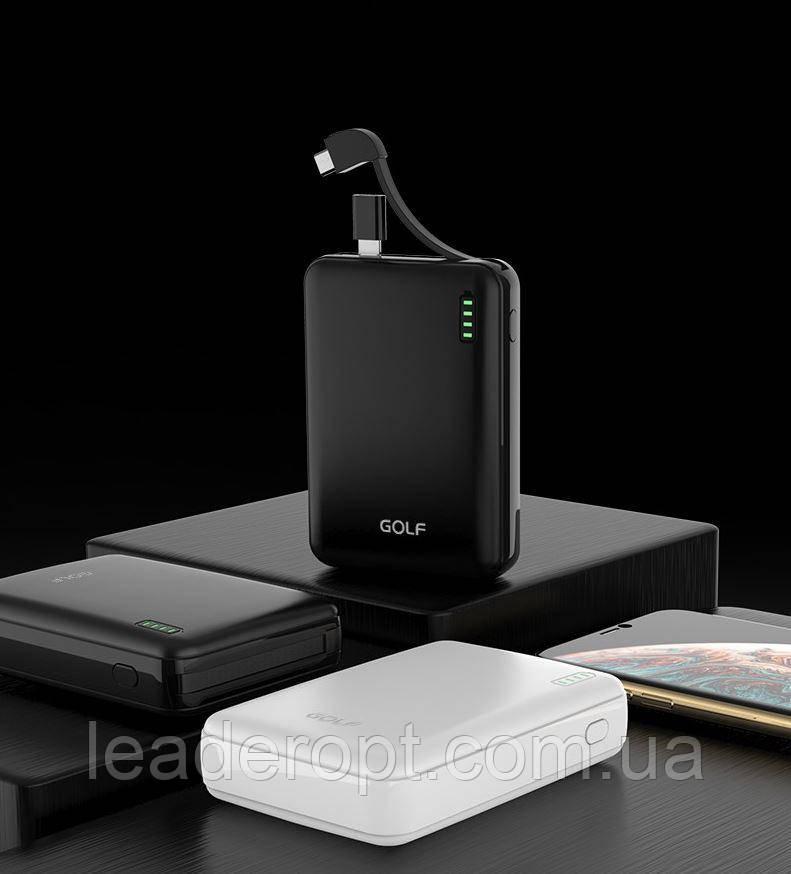 [ОПТ] Универсальный внешний аккумулятор Power bank GOLF G73 10000mAh с переходниками Lightning и Type-C