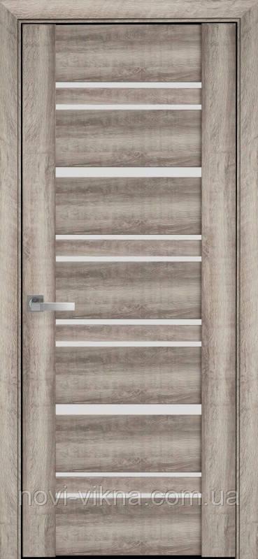 Дверь межкомнатная Валенсия Бук Баварский 800 мм со стеклом сатин (матовое), ПВХ Viva.