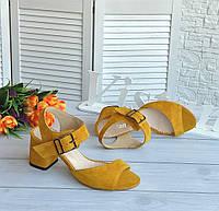 Жіночі босоніжки жовтого кольору, фото 1