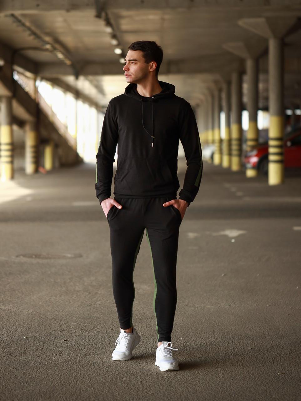 Мужской летний спортивный костюм с капюшоном черного цвета.Мужской осенний спортивный костюм