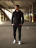 Мужской летний спортивный костюм с капюшоном черного цвета.Мужской осенний спортивный костюм, фото 3