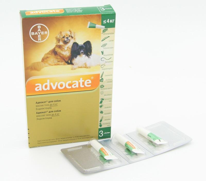 Advocate (Адвокат), капли для собак весом до 4 кг, 1 ампула  Bayer