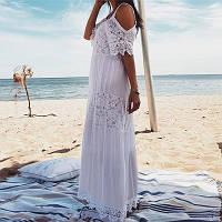 Новинка 2020! Для женщин белое батистовое платье-сарафан, длинное с кружевом, размер 50( XL).