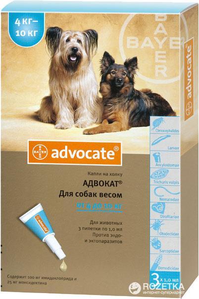 Advocate (Адвокат), краплі для собак вагою від 4 до 10 кг, 1 ампула Bayer