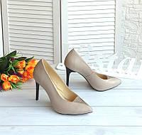 Бежеві шкіряні туфлі на шпильці, фото 1