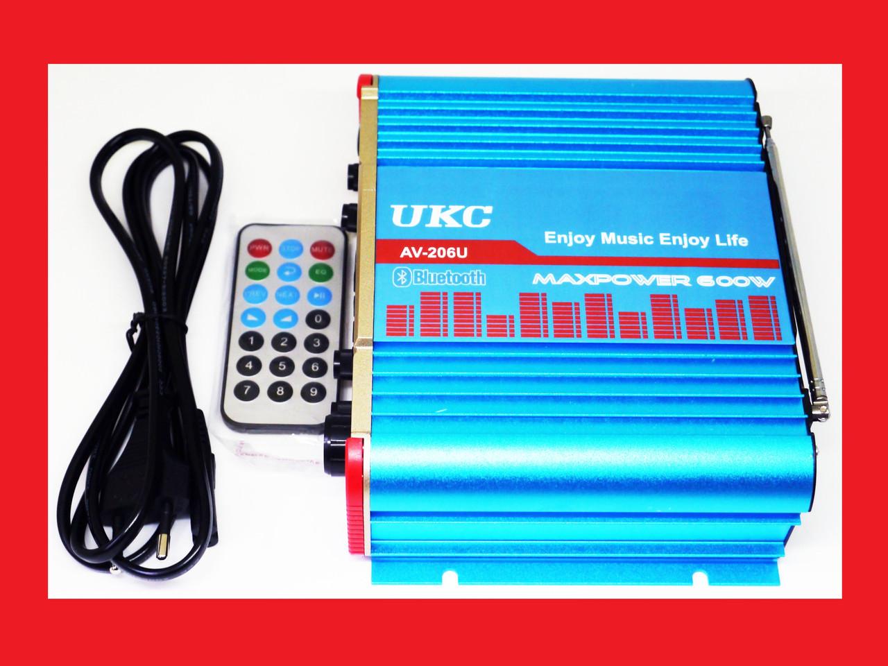 Усилитель UKC AV-206U - Bluetooth, USB,SD,FM,MP3! 300W+300W Караоке 2х канальный