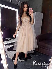 Платье с кружевным верхом и пышной фатиновой юбкой миди r66py761