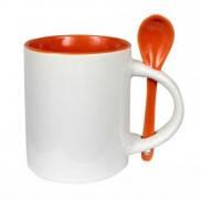 Чашка для сублимации цветная внутри с ложечкой 330 мл (оранжевый)