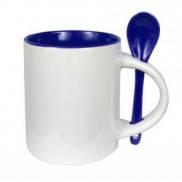 Чашка для сублимации цветная внутри с ложечкой 330 мл (кобальт)