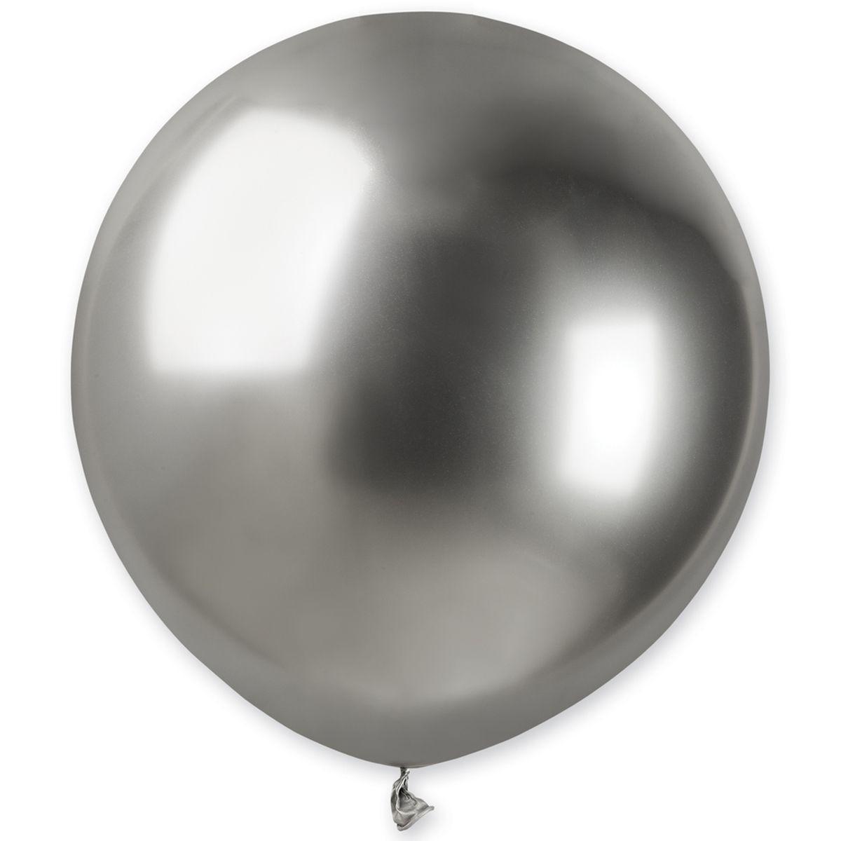 """Латексные шары круглые без рисунка 18"""" хром серебро ShinySilver"""