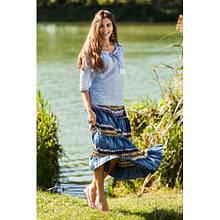 Молодежная джинсовая юбка длинная в пол с резинкой на талии