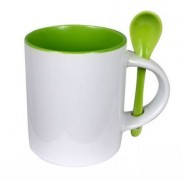 Чашка для сублимации цветная внутри с ложечкой 330 мл (салатовый)