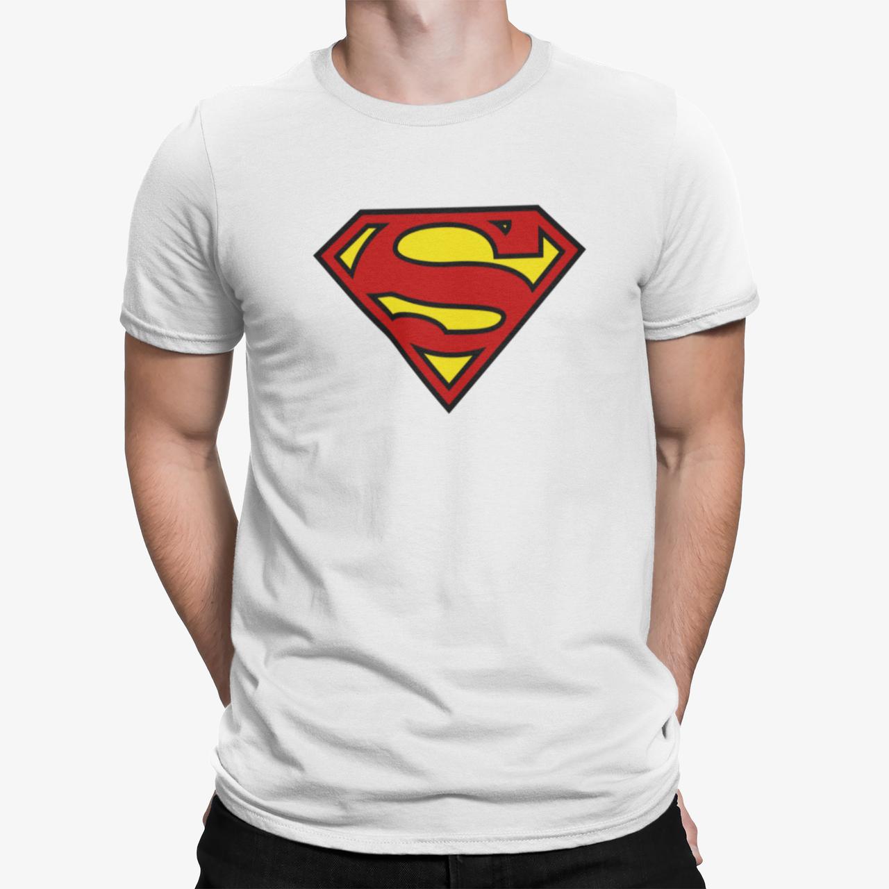 """Футболка мужская белая с принтом """"Superman"""""""