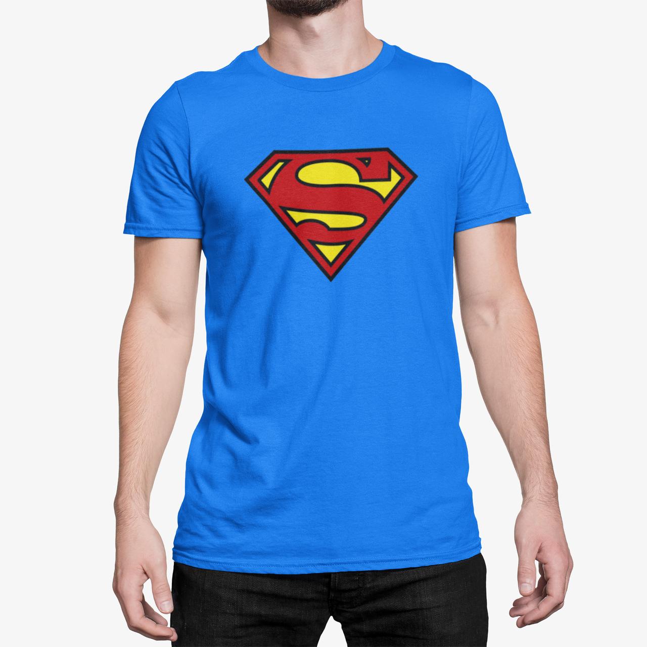 """Футболка синяя мужская с принтом """"Superman"""""""