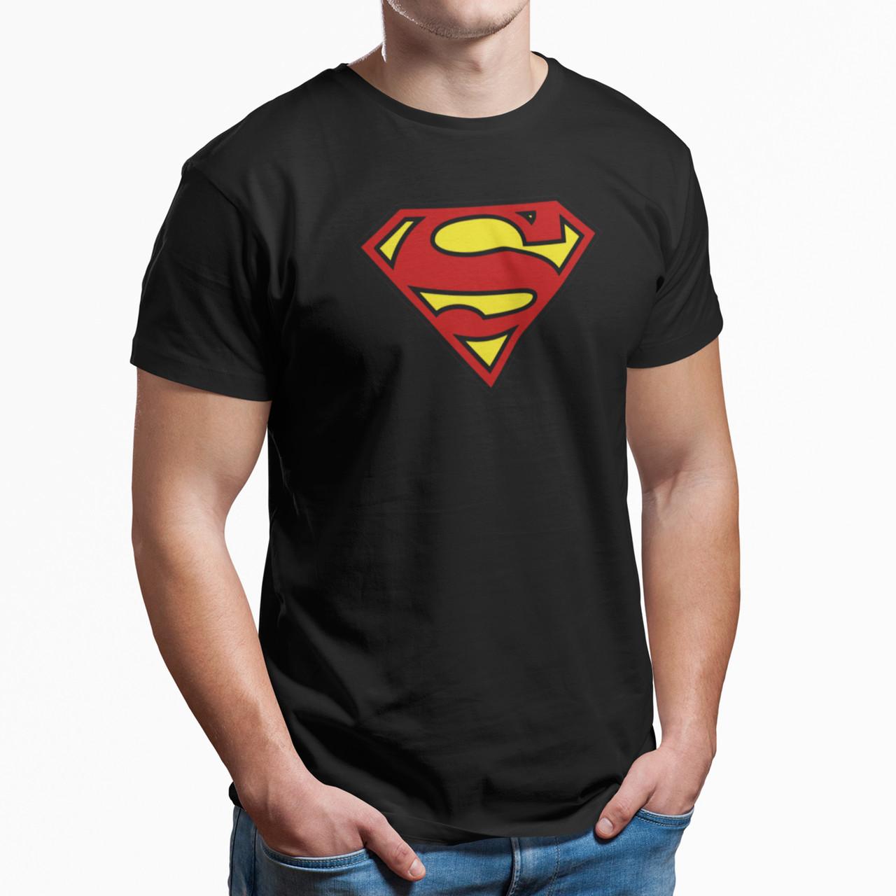 """Футболка черная мужская с принтом """"Superman"""""""