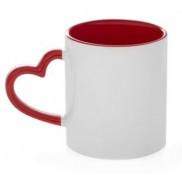 Кружка сублимационная цветная внутри и ручка Love (красный)