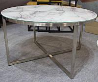 Стеклянный журнальный стол С-181 стекло имитация белого мрамора D80х45Н