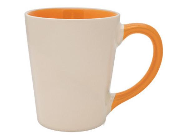 Чашка для сублимации цветная внутри и ручка Latte (оранжевый)