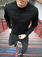 Мужская рубашка модная молодежная с длинным рукавом без воротника классика Турция черная. Живое фото