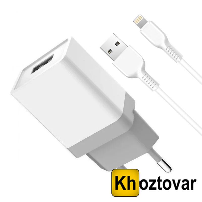 Сетевой адаптер с кабелем USB-Lightning Golf GF-U2 | 1USB