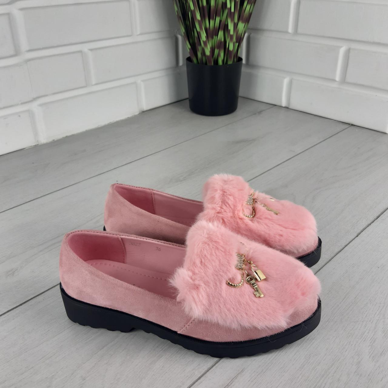 Туфли  лоферы женские пудровые эко замша