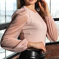 Женская блуза Бежевая, рукава напыление