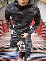 Мужской спортивный костюм с капюшоном камуфляжный серый Турция. Живое фото (весенний костюм)