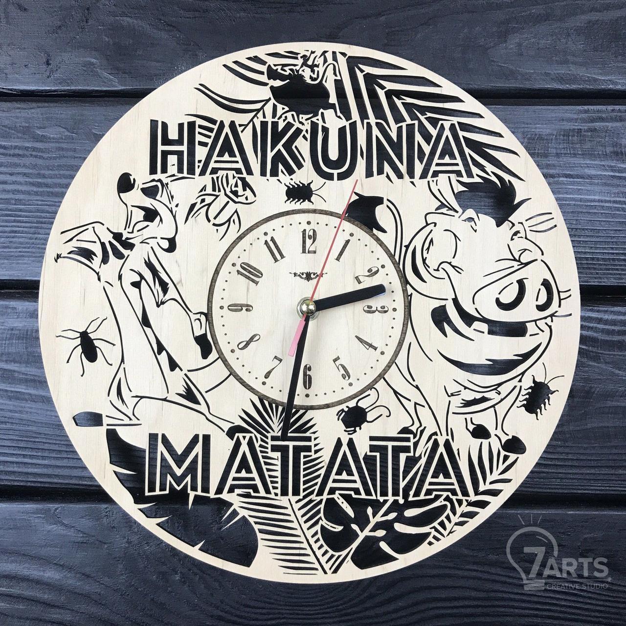 Детские настенные деревянные часы «Тимон и Пумба»