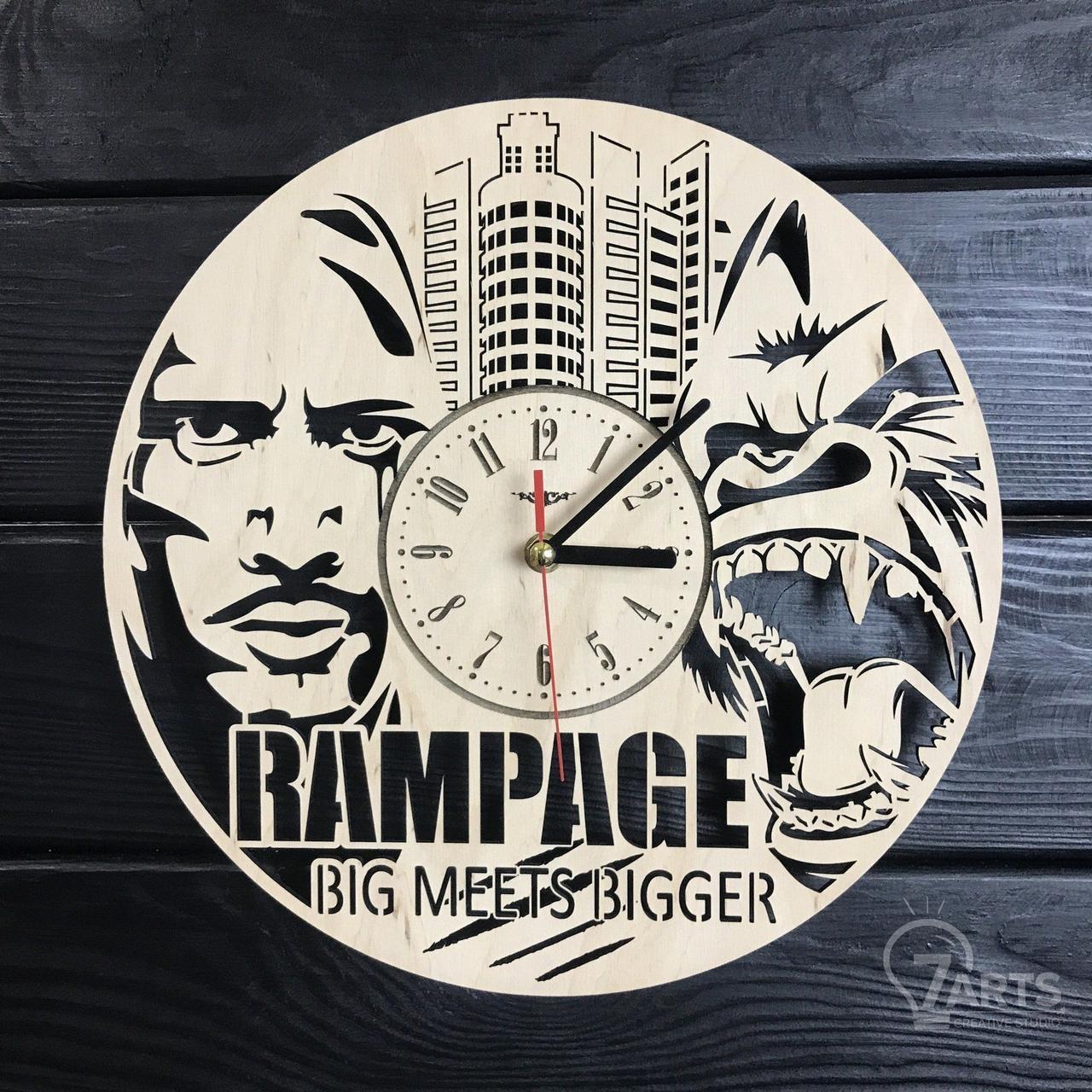Круглые дизайнерские деревянные часы «Rampage»