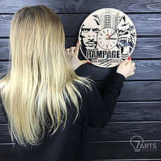Круглые дизайнерские деревянные часы «Rampage», фото 3