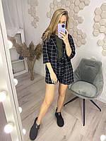 Костюм женский шорты и пиджак чёрный, белый 42-44,46-48