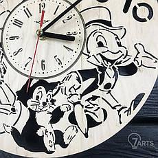 Бесшумные детские настенные часы из дерева «Пиноккио», фото 3