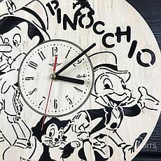 Бесшумные детские настенные часы из дерева «Пиноккио», фото 2