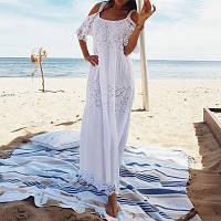 Пляжное, летнее, для женщин платье-сарафан, белое длинное c кружевной вставкой, размер 54 (3XL).