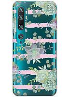 Прозрачный силиконовый чехол iSwag для Xiaomi Mi Note 10 Pro с рисунком - Суккуленты H313, КОД: 1398309