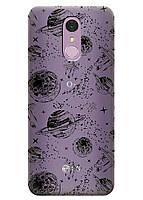 Прозрачный силиконовый чехол iSwag для LG Q7 с рисунком - Космос H508, КОД: 1398919