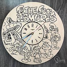 """Детские настенные часы """"Смурфики"""""""