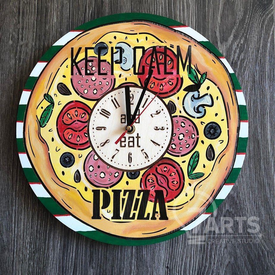"""Деревянные цветные настенные часы из дерева """"Пицца"""""""