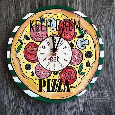 """Деревянные цветные настенные часы из дерева """"Пицца"""", фото 2"""