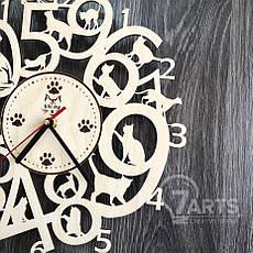 Интерьерные часы на стену из древа с котами, фото 3