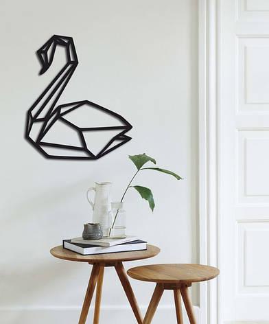 Стильный декор на стену из дерева «Лебедь», фото 2