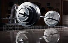 Штанга с набором блинов на 62 кг с хромированным грифом Блины сделаны из гранилита, фото 2