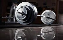 Штанга з набором млинців на 62 кг з хромованим грифом Млинці зроблені з гранилита, фото 2