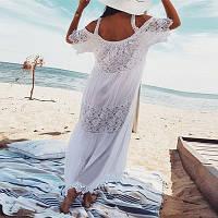 Прикольное женское платье-сарафан, для пляжа, белое длинное c кружевной вставкой, размер 54 (XXXL).